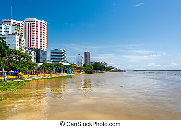 Guayaquil and Guayas River - Waterfront of Guayaquil,...
