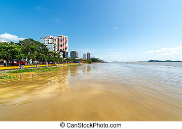 Gauayas River and Guayaquil - View of Guayaquil, Ecuador...