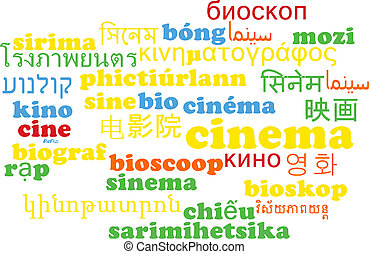 Cinema multilanguage wordcloud background concept -...