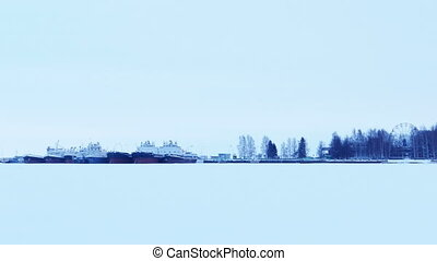 Port on a Frozen Lake with Barges in Ice, Petrozavodsk,...
