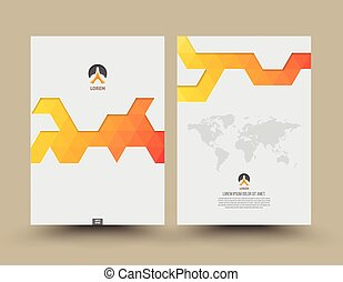 Cover template front and back triangle pattern modern style....