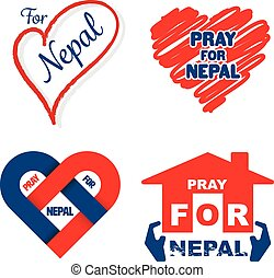 Nepal earthquake pray for Nepal banner set vector...