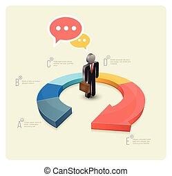 Continual circle arrow multicolor, graph, infographic,...