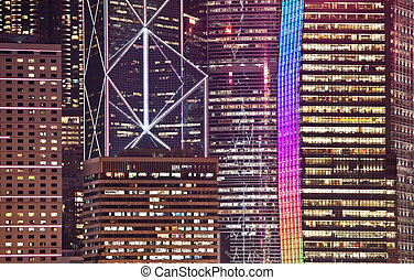 Office building facade in Hong Kong at night