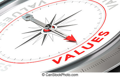 Company Statement, Values - Compass with needle pointing the...