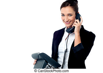 Hi, how can I help you today - Smiling secretary attending...