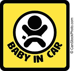 Baby in car sign vector on white background Vector...
