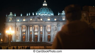 Night view of St Peters Basilica in Vatican City - Steadicam...