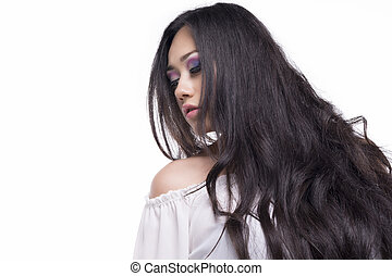 Model with long black hair - Portrait of a model with long...