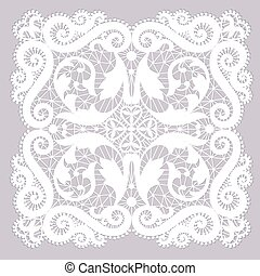 Lace doily - White lacy doily with flowery pattern on a gray...