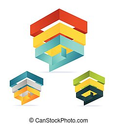 Vector pyramid chart isometric templates with options set -...