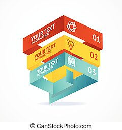 Vector pyramid chart isometric templates with options -...