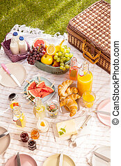 Healthy tropical summer picnic