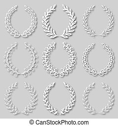 Set of vector laurel wreaths - Set of vector white laurel...