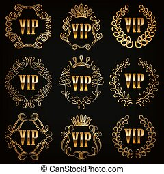 Monogram Logos Set - Set of gold vip monograms for graphic...