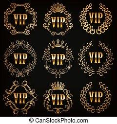 Monogram Logos Set - Set of gold vip monograms for graphic...