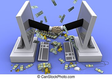 Money - 3D graphics on the theme of cooperation, business...