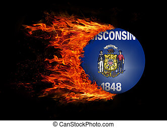 US state flag with a trail of fire - Wisconsin