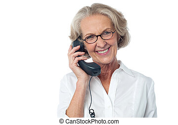 Hello, I am so glad to hear from you. - Aged happy woman...