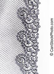 Decorative silver lace on insolated white background