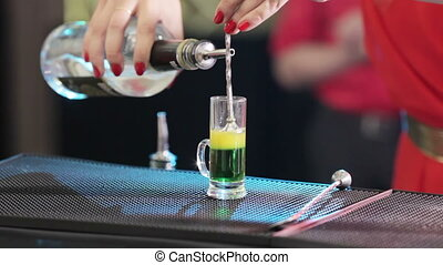 Preparing Cocktails - Adding alcohol in short cocktail