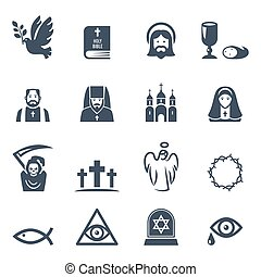 Vector black religion icons set - Vector Christian religion...