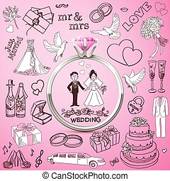 Hand drawn collection of decorative wedding design elements. Holiday objects and signs with Silver diamond Ring