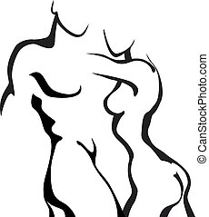 Couple in love - Abstract sketch couple in love. Woman and...