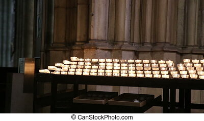 Cologne Cathedral church candles - DSLR Full HD progressive...