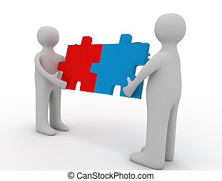 Two person matching puzzle pieces
