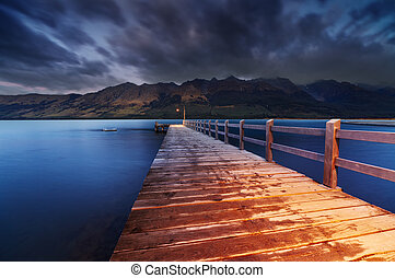 Wakatipu Lake, New Zealand - Wooden pier, Wakatipu Lake at...