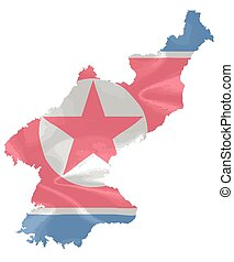 North Korean Flag Map - The flag of North Korea with silk...