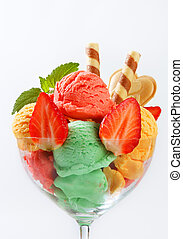 Ice cream sundae - Fruit sherbets decorated with wafers and...