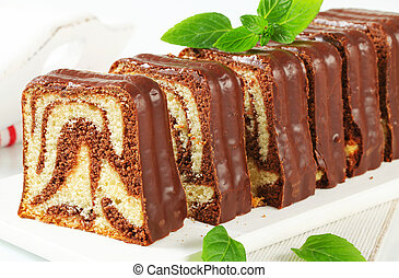 Marble pound cake with chocolate glaze
