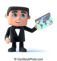 3d Bow tie spy pays with a debit card - 3d render of a man...
