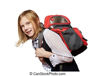 Girl student of school drags heavy bag isolated - Girl...