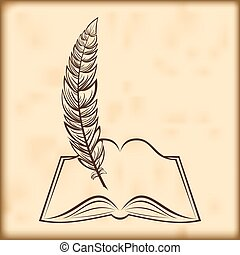vector open book and feather - Silhouette of the opened book...