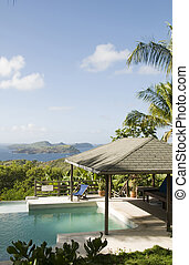 caribbean island villa pool with lovely view - luxury...