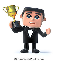 3d Bow tie spy holds the gold cup trophy - 3d render of a...