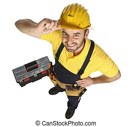 standing caucasian handyman fun view from above