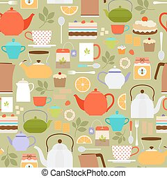 Tea pattern with teapots and cups - Vector tea seamless...