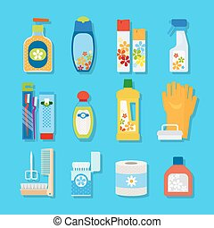 Hygiene and cleaning products flat icons - Vector hygiene...