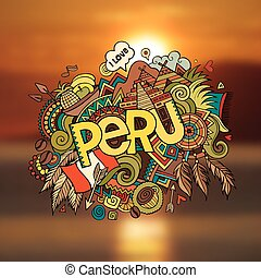 Peru hand lettering and doodles elements background. Vector...