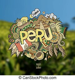 Peru hand lettering and doodles elements background Vector...