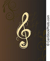 elegant clef - vector illustration of a clef on a brown...