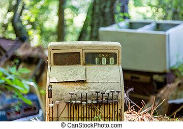Old Cash Register in Junkyard