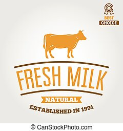 Vintage label, logo, emblem template of milk on background -...