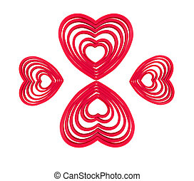 LOVE-LOVE! - heart-shaped forms on a white background