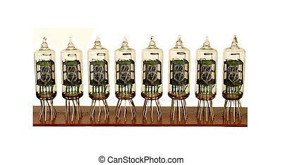 row of nixie tubes on a white background