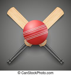 Vector illustration of cricket leather ball and wooden bats....